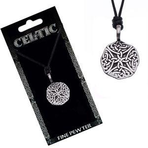 Naszyjnik ze sznurkiem – czarny, okrągły wisiorek, węzeł celtycki