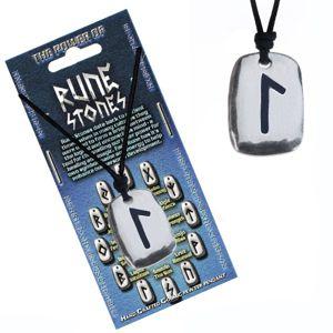 Naszyjnik ze sznurkiem i metalowym wisiorkiem, runa Laguz