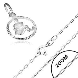 Naszyjnik ze znakiem Zodiaku WODNIK, srebro 925