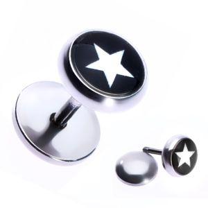 Niby stalowy piercing do ucha z gwiazdą w czarnym kółku