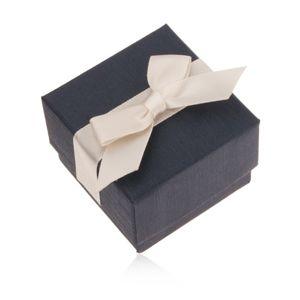Niebieskie upominkowe pudełeczko na pierścionek, wisiorek i kolczyki, kremowa kokarda