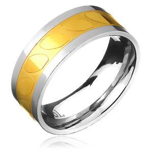 Obrączka ze stali - złoto-srebrna, motyw ukośne owale  - Rozmiar : 60