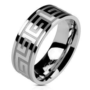 Obrączka ze stali srebrnego koloru, lśniąca powierzchnia, klucz grecki, 8 mm - Rozmiar : 68
