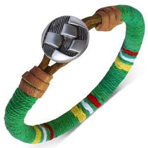 Okrągła bransoletka okręcona zielonym sznurkiem, kolorowe pasy, guzik