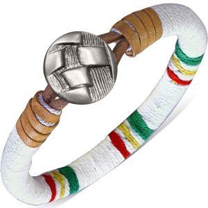 Okrągła bransoletka owinięta białym sznurkiem, kolorowe pasy, guzik