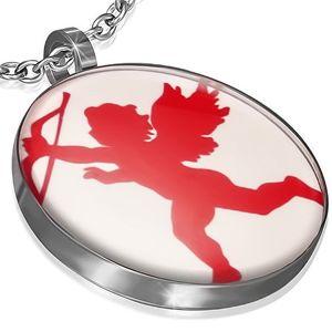Okrągła stalowa zawieszka - czerwony Amorek z łukiem