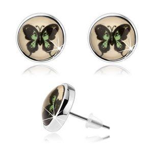 Okrągłe kolczyki cabochon, wypukłe szkło, zielono-czarny motyl, wkręty