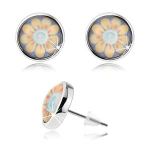 Okrągłe kolczyki w stylu cabochon, przezroczyste wypukłe szkło, żółty kwiatek z białym środkiem