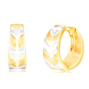 Okrągłe kolczyki z 14K złota - koło z matowym dwukolorowym wzorem V