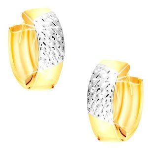 Okrągłe kolczyki z kombinowanego 14-karatowego złota - plecionka z białego złota