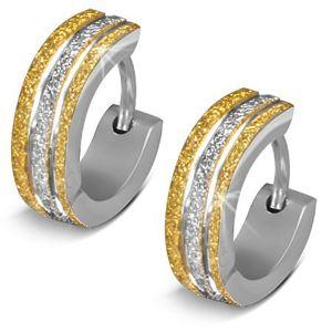 Okrągłe kolczyki ze stali 316L - błyszcząca powierzchnia złotego i srebrnego koloru