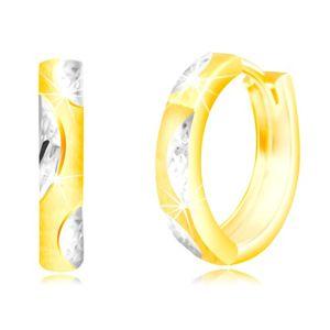 Okrągłe kolczyki ze złota 585 - wąskie matowe kółeczko, listki z białego złota