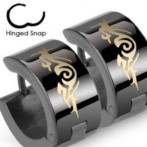 Okrągłe stalowe czarne lśniące kolczyki, plemienny ornament