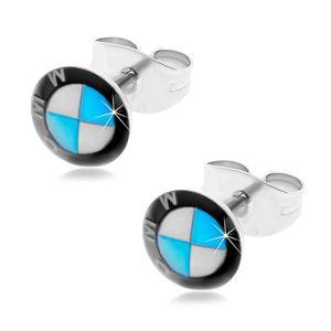 Okrągłe stalowe kolczyki - czarno-biało-niebieskie logo marki samochodu, wkręty