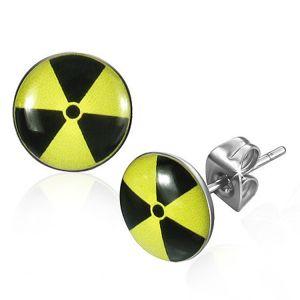 Okrągłe stalowe kolczyki - czarno-żółty nuklearny symbol