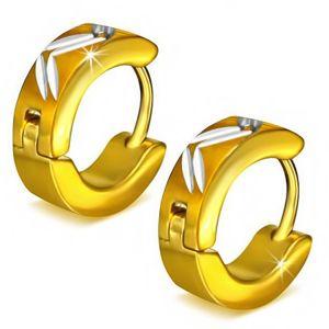 Okrągłe stalowe kolczyki w kolorze złotym, ukośne nacięcia