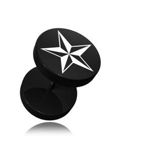 Okrągły fake plug do ucha z akrylu w kolorze czarnym, nadruk gwiazdy