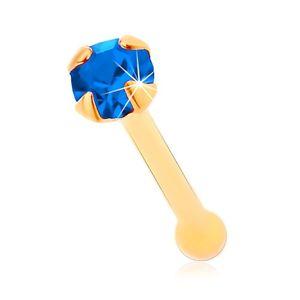 Piercing do nosa w żółtym 14K złocie - drobna cyrkonia ciemnoniebieskiego koloru, 1,5 mm