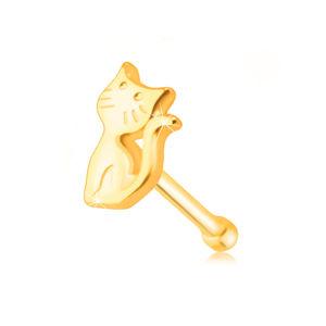 Piercing do nosa wykonany z żółtego złota 585 - kotek z uniesionym ogonem