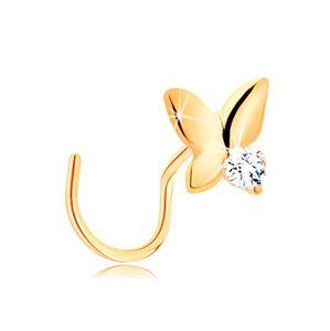 Piercing do nosa z żółtego 14K złota - mały motyl z przezroczystą cyrkonią
