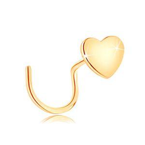 Piercing do nosa z żółtego 14K złota, zagięty - małe płaskie serduszko