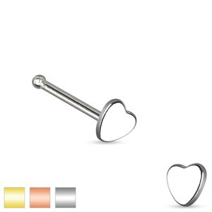 Piercing do nosa ze stali chirurgicznej, małe symetryczne serduszko - Kolor kolczyka: Złoty