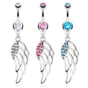 Piercing do pępka ze stali chirurgicznej - kolorowe wycięte skrzydła - Kolor cyrkoni: Różowy - P