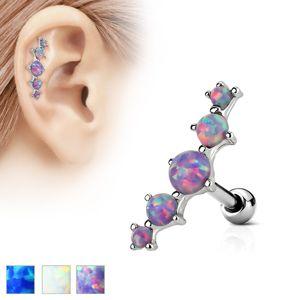 Piercing do ucha ze stali 316L, łuk pięciu syntetycznych opali - Kolor kolczyka: Niebieski