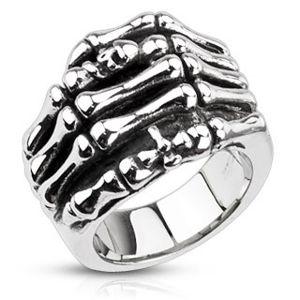 Pierścień ze stali - szkielet dłoni - Rozmiar : 59