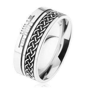 Pierścień ze stali chirurgicznej, wzór celtycki, srebrny kolor, 8 mm - Rozmiar : 54