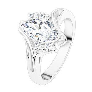Pierścionek srebrnego koloru, bezbarwne cyrkoniowe ziarenko, pary cyrkonii, zagięte ramiona - Rozmiar : 49