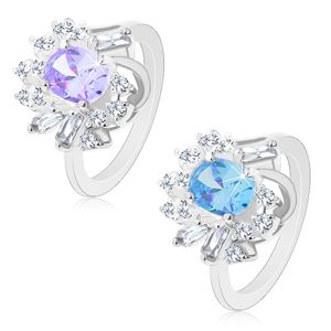 Pierścionek srebrnego koloru, duża owalna cyrkonia, okrągłe i prostokątne cyrkonie - Rozmiar : 50, Kolor: Jasnofioletowy