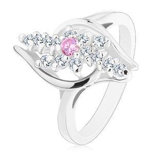 Pierścionek srebrnego koloru, przezroczyste cyrkoniowe linie, różowa cyrkonia w środku - Rozmiar : 59
