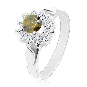 Pierścionek srebrnego koloru, zielono-bezbarwny kwiat, lśniące listki na bokach - Rozmiar : 54