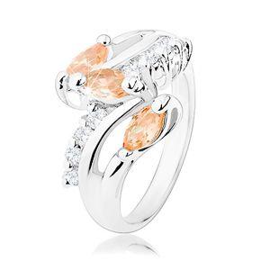 Pierścionek srebrnego odcieniu, przezroczyste cyrkoniowe pasy, pomarańczowe wyszlifowane ziarenka  - Rozmiar : 53