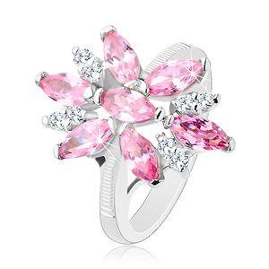 Pierścionek w srebrnym odcieniu, duży kwiat z różowymi i przezroczystymi płatkami - Rozmiar : 54