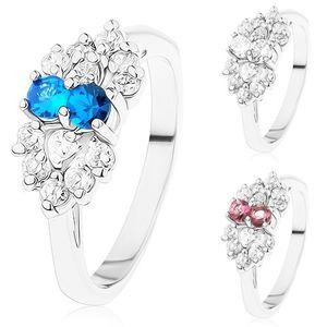 Pierścionek w srebrnym odcieniu, kokardka z bezbarwnych i kolorowych cyrkonii - Rozmiar : 59, Kolor: Przeźroczysty - Niebieski