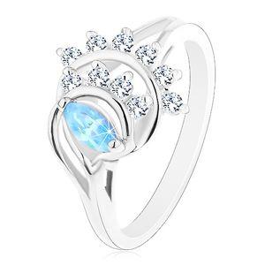Pierścionek w srebrnym odcieniu, niebieskie ziarnko, łuki z przezroczystych cyrkonii - Rozmiar : 50