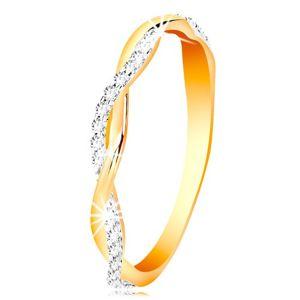 Pierścionek z 14K złota - dwie cienkie przeplecione fale - gładka i cyrkoniowa - Rozmiar : 56
