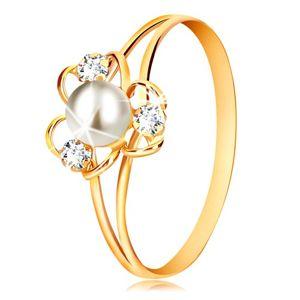 Pierścionek z 9-karatowego żółtego złota - kwiat z trzema płatkami, białą perłą i przezroczystymi cyrkoniami - Rozmiar : 51