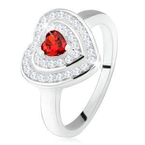 Pierścionek z czerwonym cyrkoniowym serduszkiem, przeźroczyste cyrkonie - kontury serc, srebro 925 - Rozmiar : 57