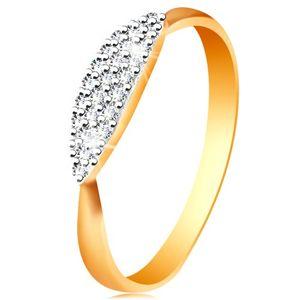 Pierścionek z dwukolorowego 585 złota - wypukły owal z osadzonymi bezbarwnymi cyrkoniami - Rozmiar : 49