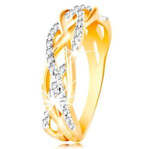 Pierścionek z kombinowanego 14K złota - przeplatane gładkie i cyrkoniowe linie - Rozmiar : 51