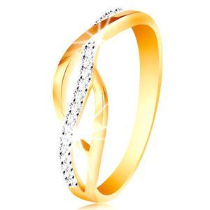 Pierścionek z kombinowanego 14K złota - splecione gładkie i cyrkoniowe linie - Rozmiar : 58