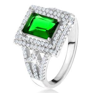 Pierścionek z prostokątną zieloną cyrkonią, podwójna przezroczysta obwódka, strzałki, srebro 925 - Rozmiar : 60