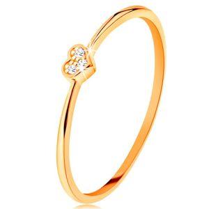 Pierścionek z żółtego 14K złota - serduszko ozdobione okrągłymi przezroczystymi cyrkoniami - Rozmiar : 59