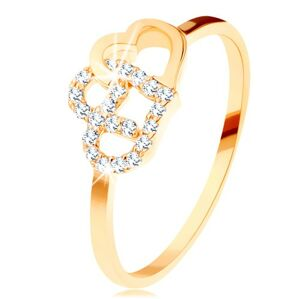 Pierścionek z żółtego 14K złota - dwa połączone zarysy serc, wąskie ramiona - Rozmiar : 64