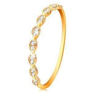 Pierścionek z żółtego 14K złota - połączone ziarna z osadzonymi cyrkoniami - Rozmiar : 63
