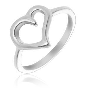 Pierścionek ze srebra 925 - kontur nieregularnego serca - Rozmiar : 61