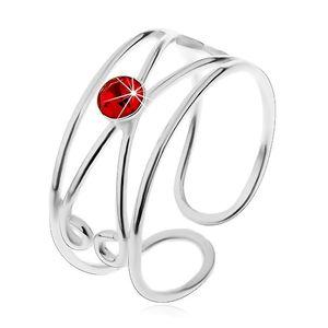 Pierścionek ze srebra 925 - okrągła czerwona cyrkonia, podwójna pętelka, regulowany